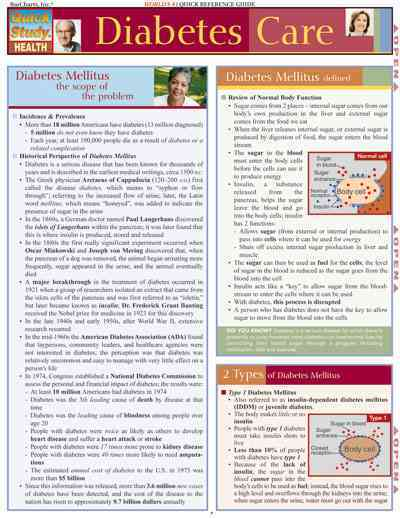 Diabetes Care Quick Study Reference Guide By Grahn, Jody J.